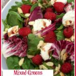 Bowl of mixed greens salad with cheese and raspberries pinterest image