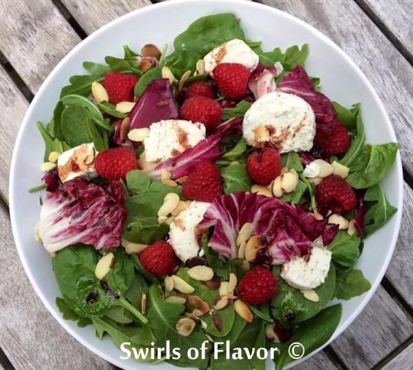 Raspberry Almond Mixed Greens Salad
