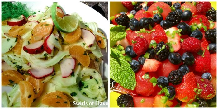 Fennel Mandarin Salad and Summer Fruit Salad