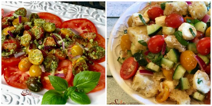 Pesto Tomato Salad and Panzanella Salad