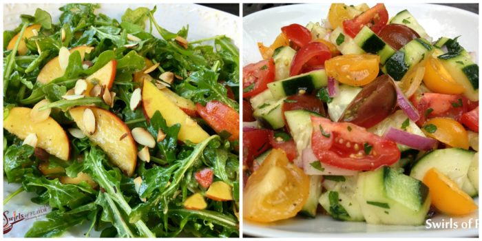 Peach Arugula Salad and Cucumber Tomato Salad