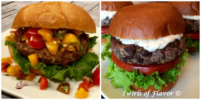 Bruschetta Burgers and Black Bean Burgers