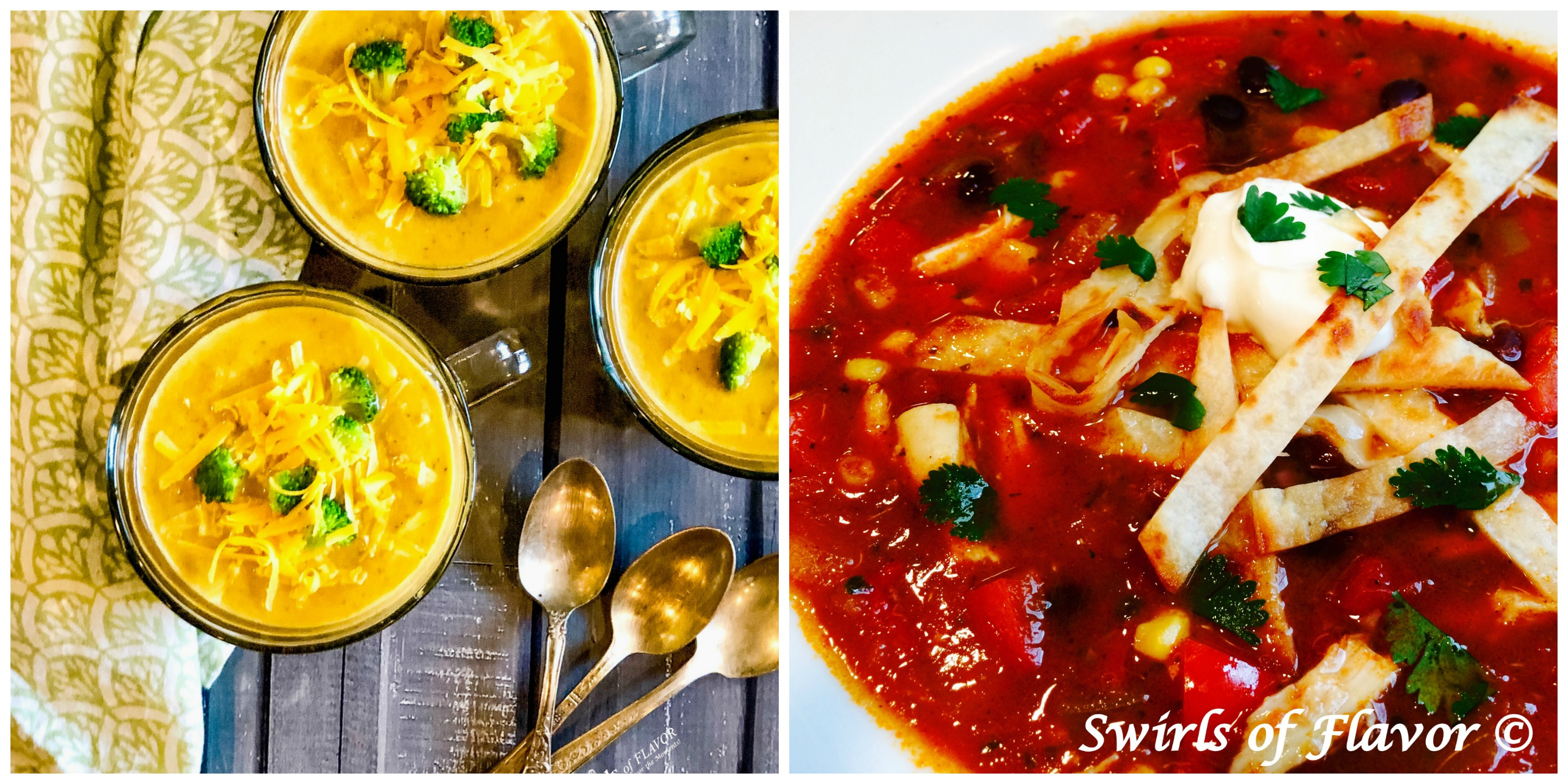 Broccoli Cheddar Soup and Chicken Tortilla Soup