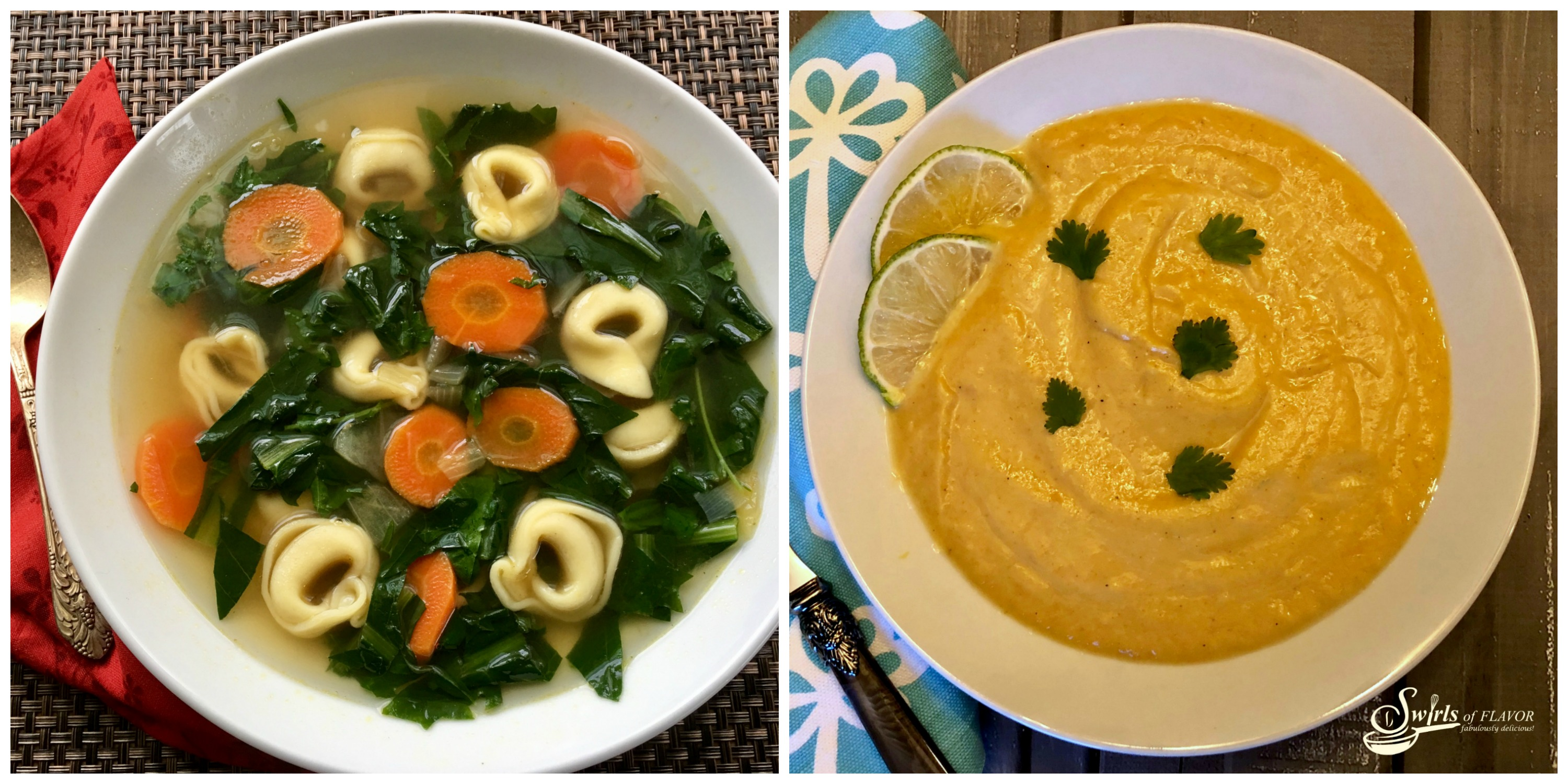 Dandelion Soup and Curried Cauliflower Soup