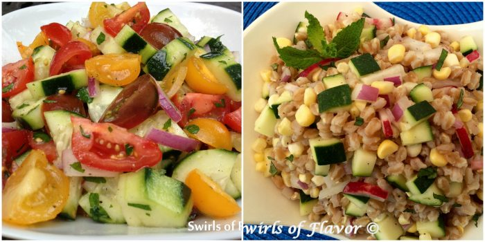 Tomato cucumber Salad and Zucchini Corn Farro Salad