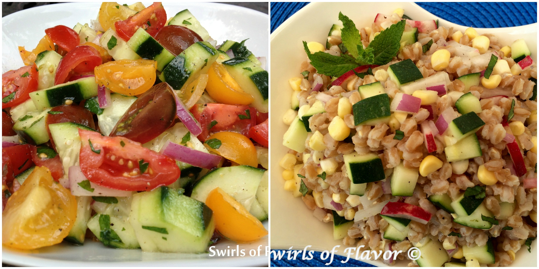 Tomato cucumber Salad and Zucchini Corn Farro Salad