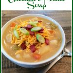 bowl of potato soup with toppings and text overlay
