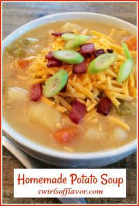 cheddar potato soooup in bowl with text overlay