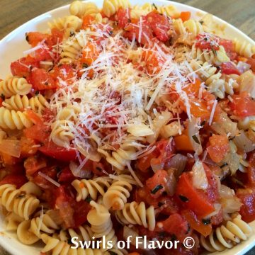 roasted tomato sauce tossed with pasta