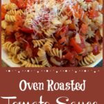 bowl of fresh tomato sauce with pasta and text overlay