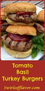 Tomato Basil Turkey Burgers are flavored with fresh basil, sundried tomatoes and mozzarella for a delicious and healthy alternative to ground beef! ground turkey | burgers | turkey burgers | healthy | barbecue | grilling | basil | cheese | sundried tomato | ground beef alternative