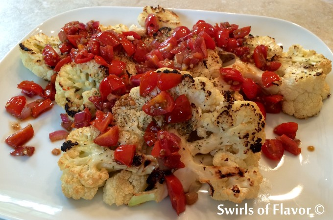 cauliflower steaks with tomato topping