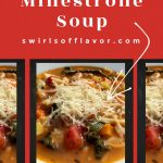 minestrone soup in bowl with text overlay