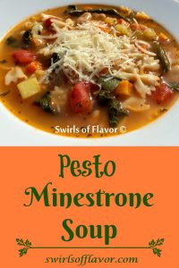Pesto Minestrone Soup is an easy homemade soup recipe that is ready in just minutes. This hearty minestrone with pesto  and baby kale is an updated version of the classic Italian soup and is sure to be a new family favorite!