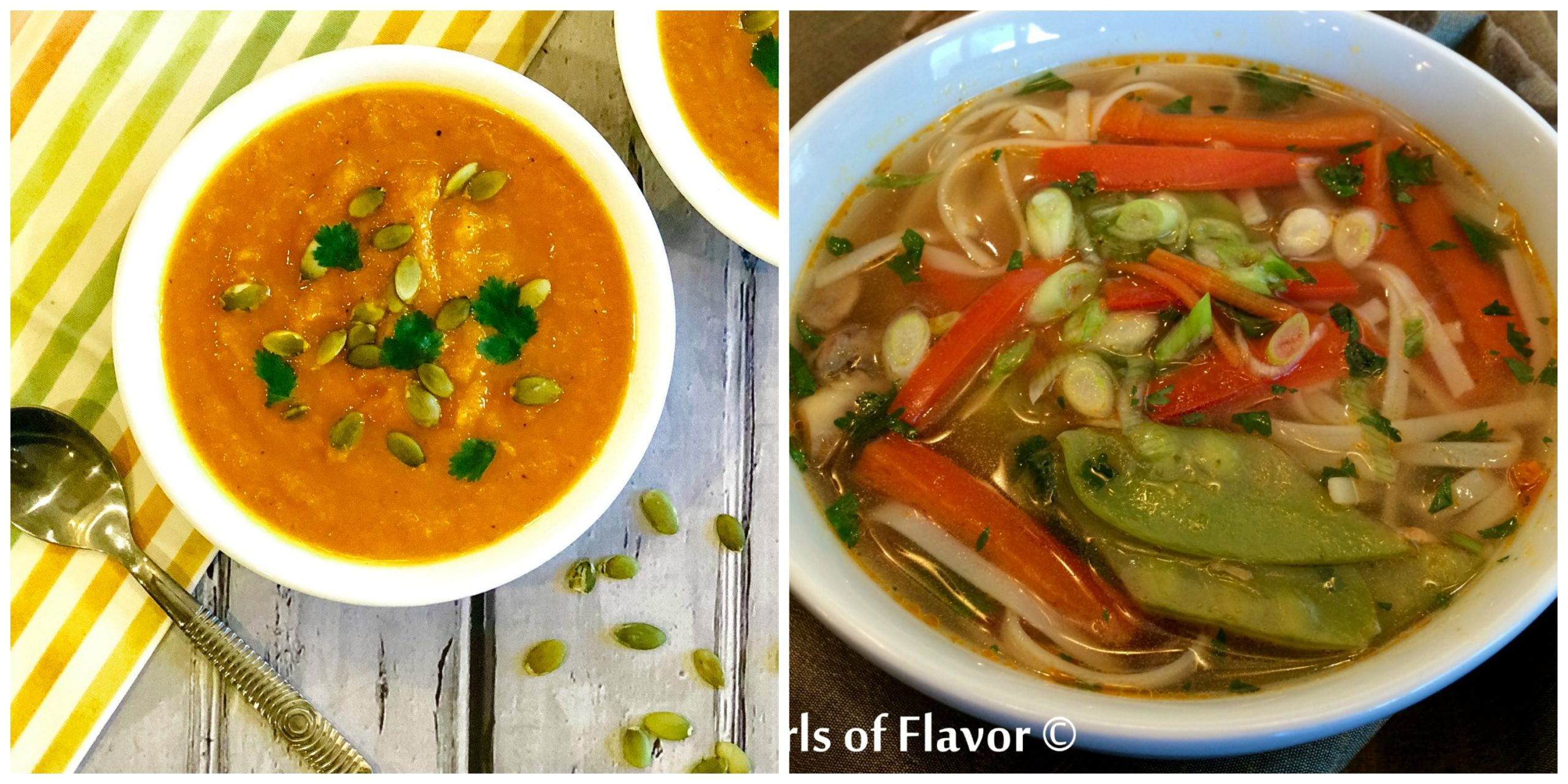 Carrot Ginger Soup and thai Vegetable SOup
