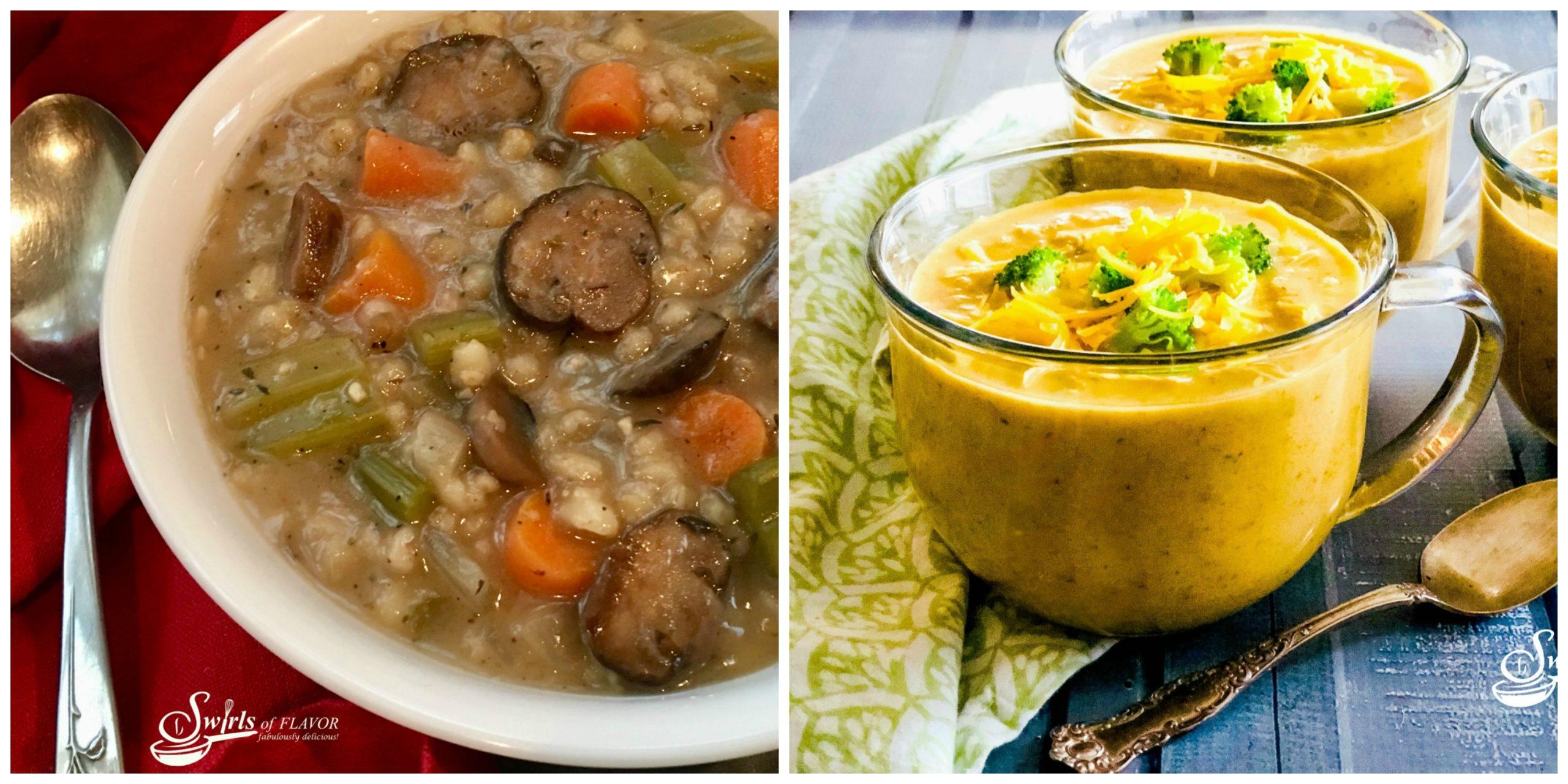 Mushroom Barley Soup and Broccoli Cheddar Soup