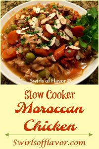 The warm spices of cinnamon and cumin combine with chicken, almonds, raisins and tomatoes for our Slow Cooker Moroccan Chicken recipe. Let your slow cooker do the work on these busy back to school days! #slowcooker #easyrecipe #moroccan #cinnamon #raisins #olives #chicken #chickenthighs #sqwirlsofflavor