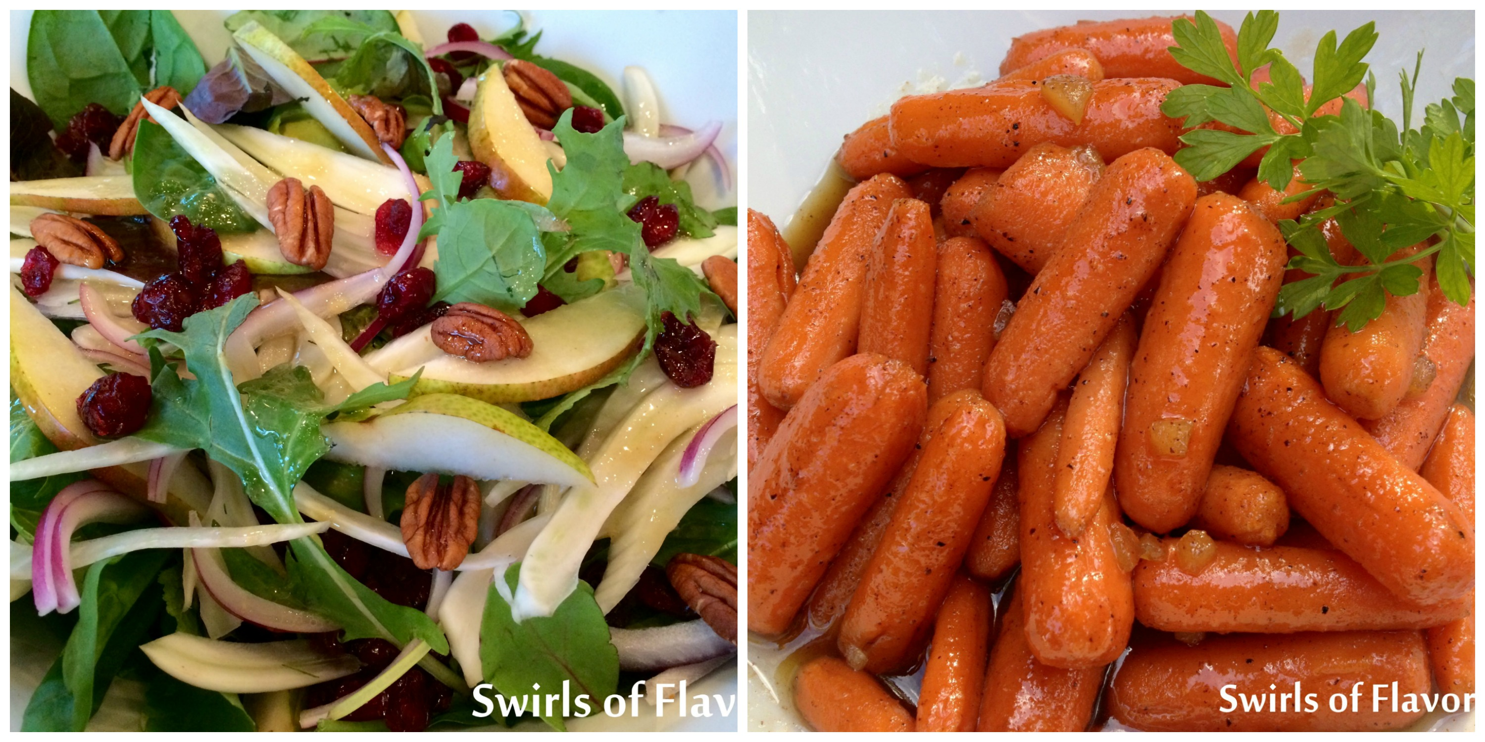 Pecan Pear Salad and Honey Carrots