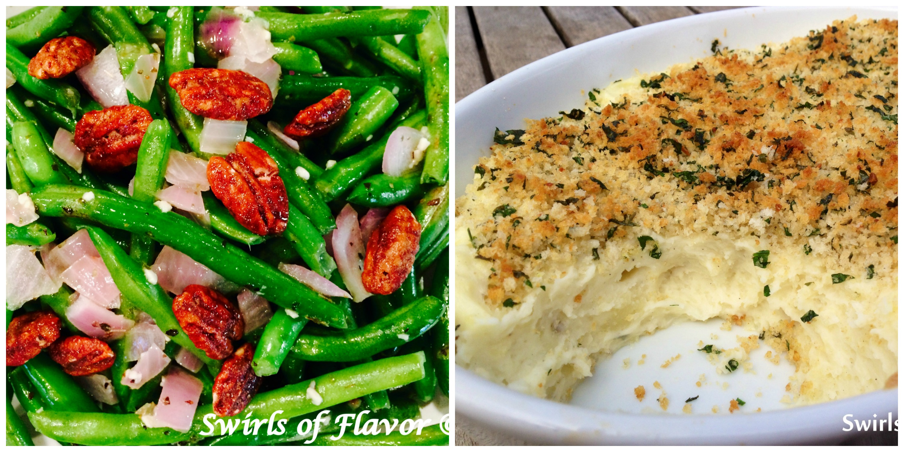 Pecan Green Beans and Mashed Potatoes