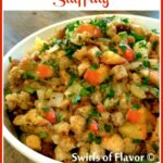 bowl of apple stuffing with text overlay