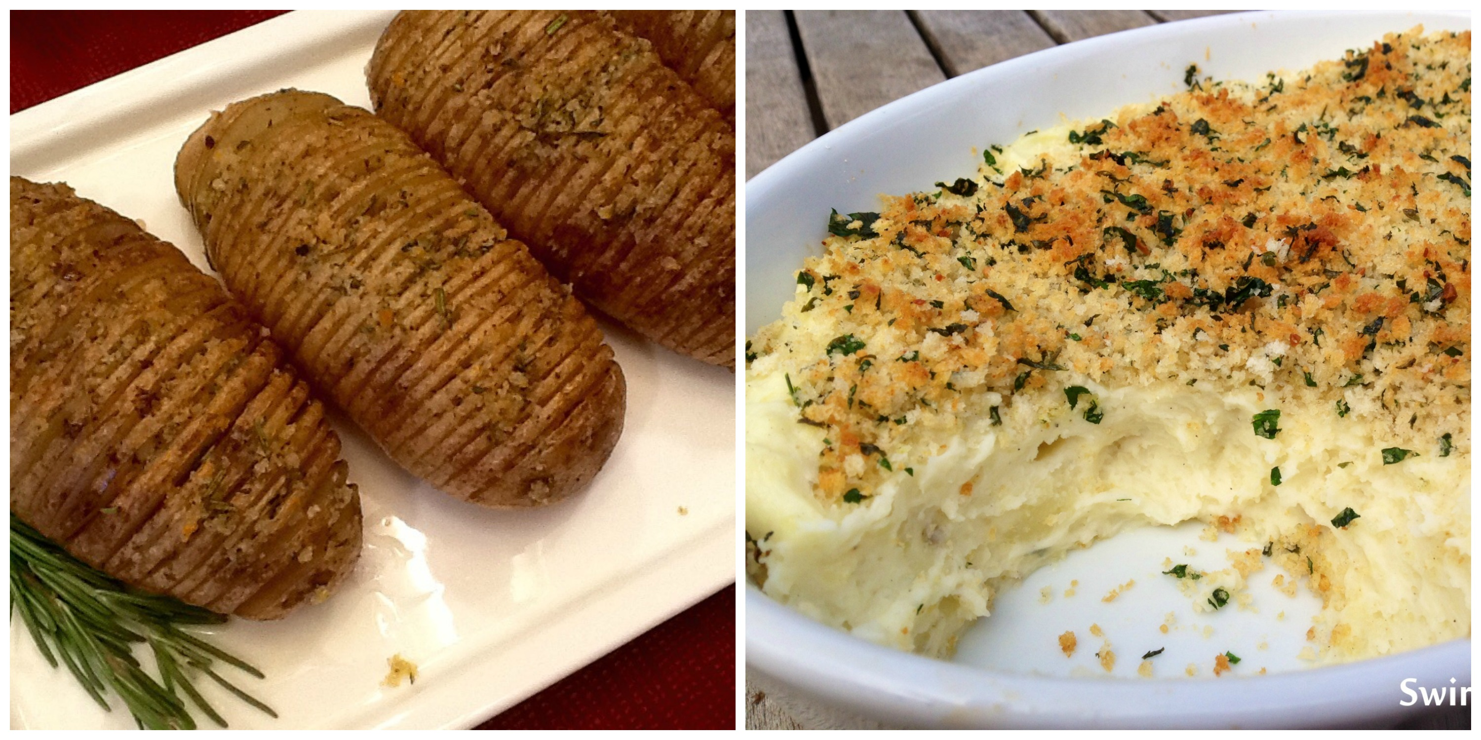 Hasselback Potatoes and Panko Mashed Potatoes