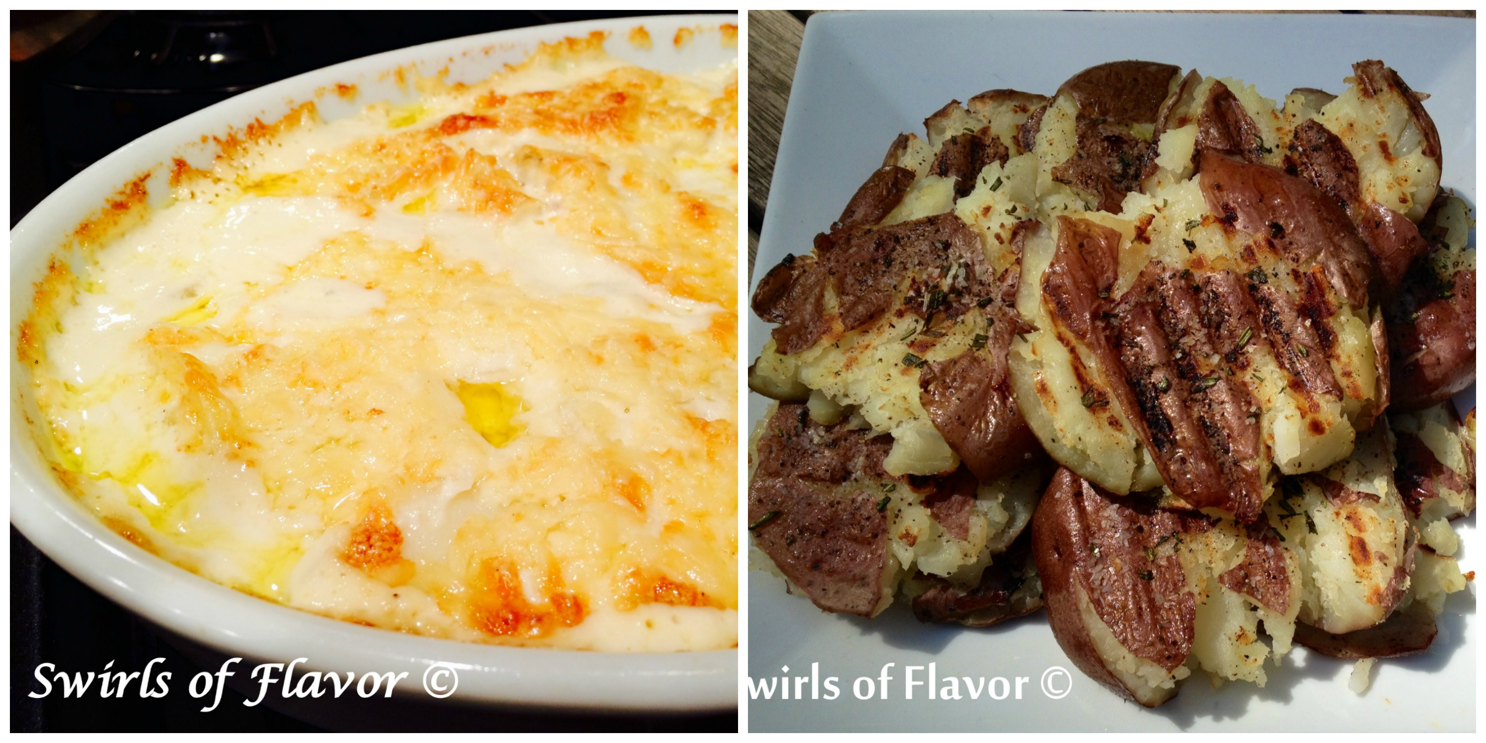 Potatoes Au Gratin and Smashed Rosemary Potatoes