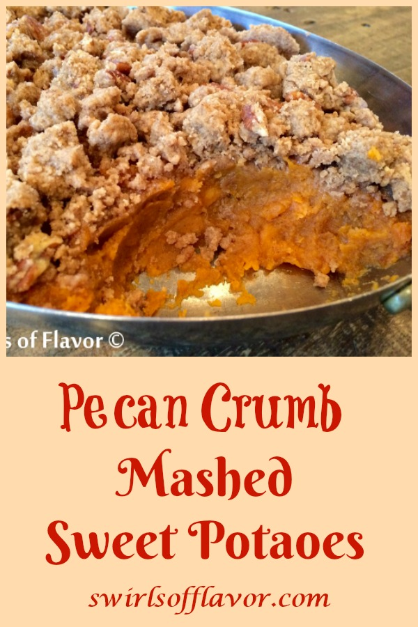 Pecan Crumb Sweet Potatoes elevates mashed sweet potatoes to a new level! An easy recipe for creamy mashed sweet potatoes flavored with brown sugar and cinnamon is topped with a buttery pecan crumb topping and baked to perfection. An ultimate side dish recipe for the holidays and entertaining! #sweetpotatoes #mashedpotatoes #mashedsweetpotatoes #holiday #entertaining #Thanksgiving #Christmas #easyrecie #potatorecipe #crumbtopping #pecancrumb #swirlsofflavor