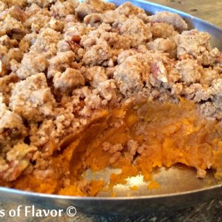 Pecan Crumb Sweet Potatoes are so decadent that every mouthful is filled with creamy sweet potatoes and buttery cinnamon crumbs.....the perfect combination of a side dish and a dessert!