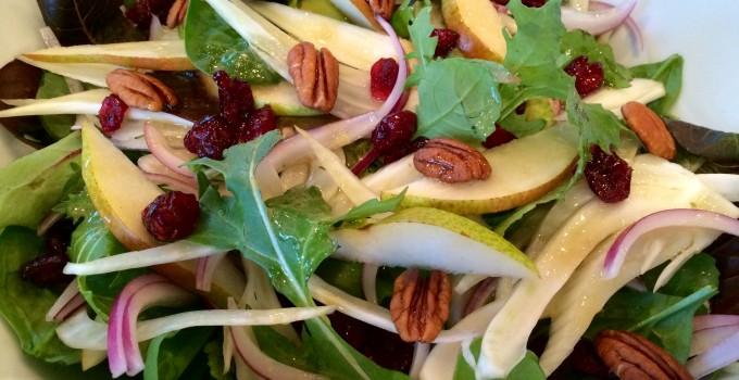 Pecan Pear Baby Kale Salad with White Balsamic Vinaigrette