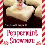 Peppermint Snowmen Brownies are homemade fudgy brownies topped with a peppermint buttercream frosting and royal icing snowmen making a festive holiday dessert! holiday | baking | peppermint | brownies | fun for kids | homemade frosting | Christmas
