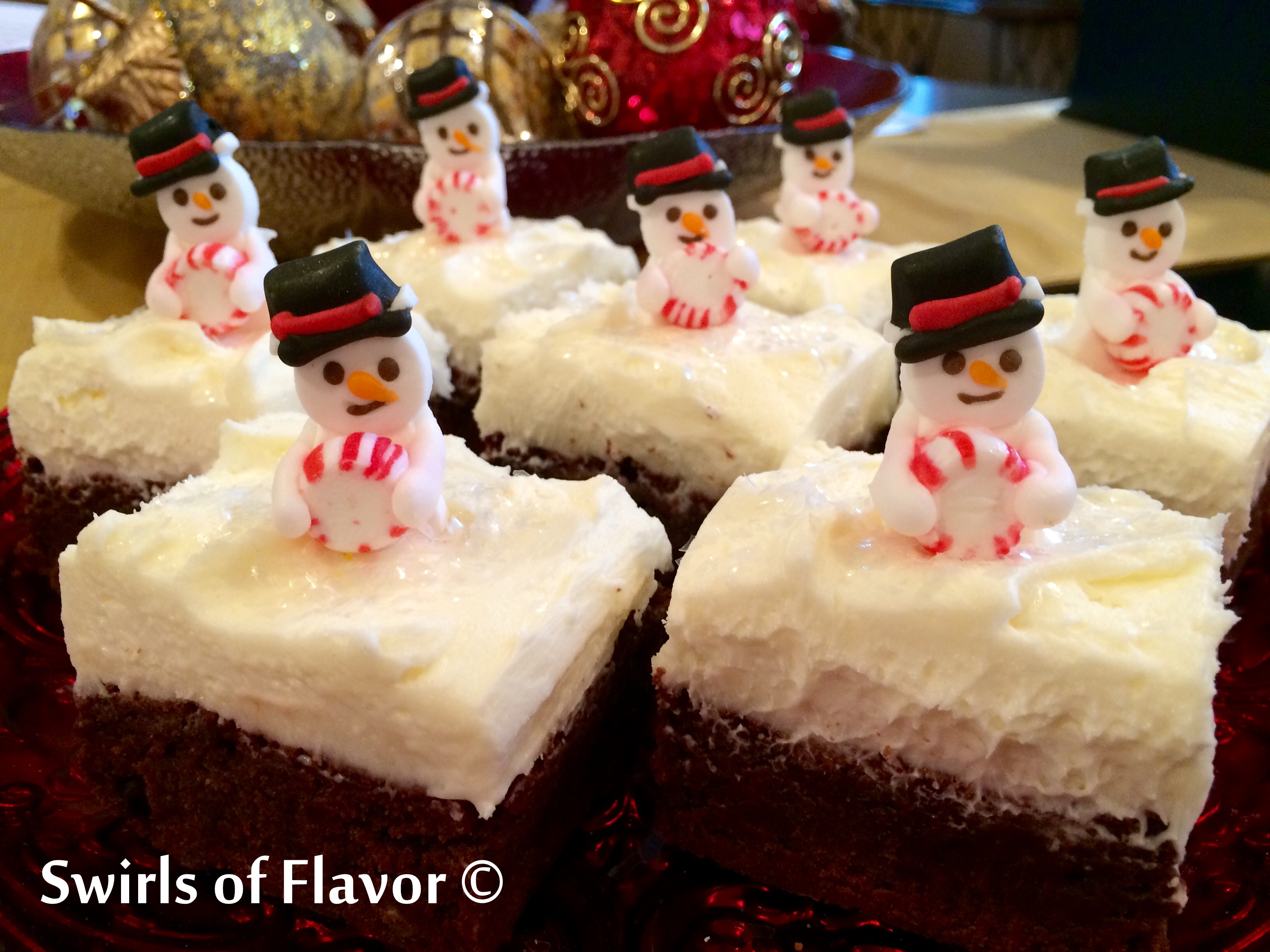Peppermint Snowmen Brownies with Christmas ornaments