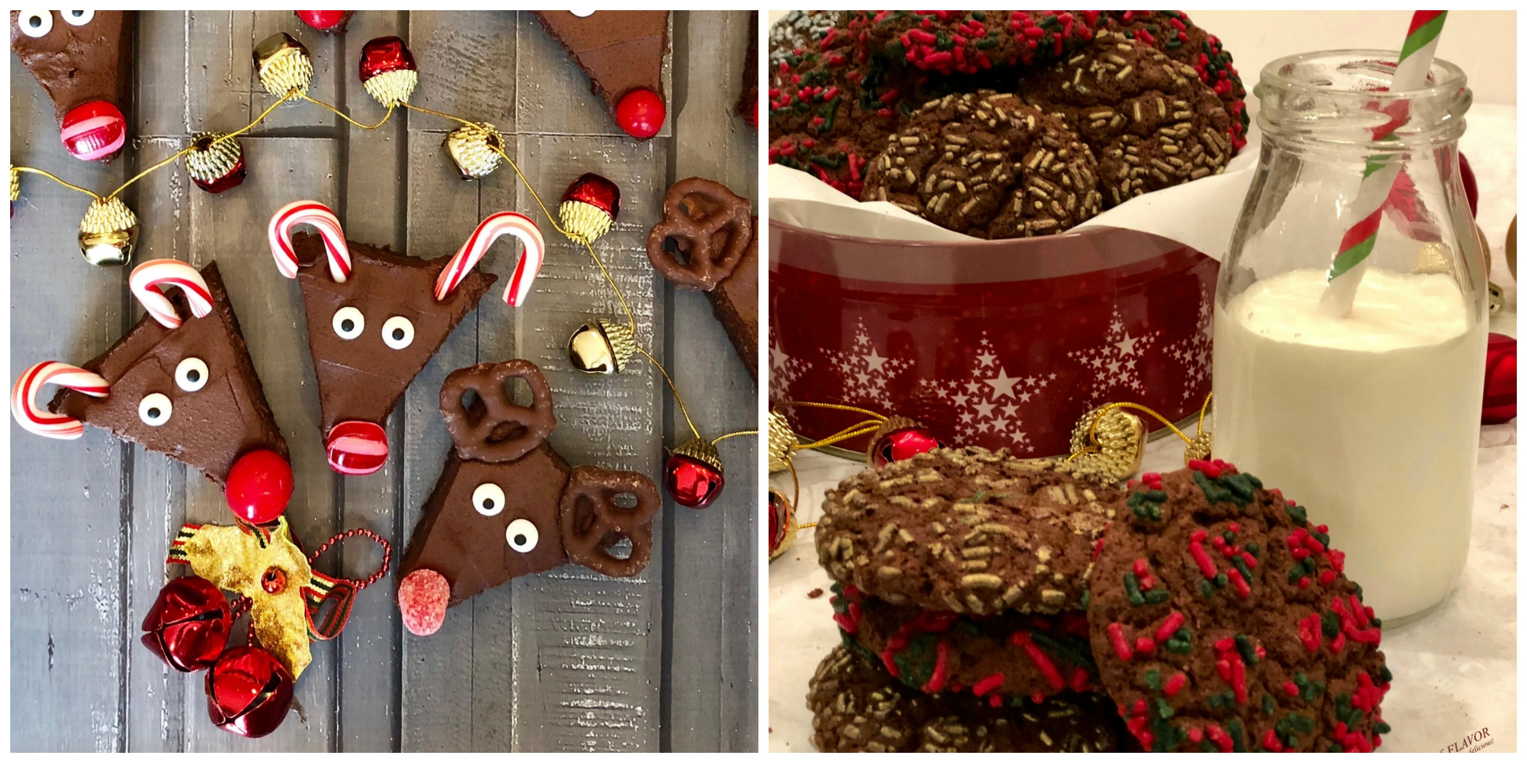 Reindeer brownies and Double Chocolate Espresso Cookies