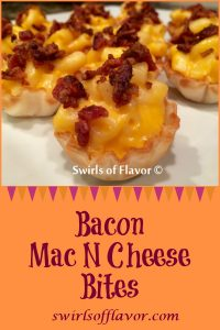 Bacon Mac N Cheese Bites is an easy recipe for a last minute holiday appetizer. With just three ingredients you can have this bite of cheesy goodness in just minutes! Bacon with macaroni and cheese is a perfect last minute holiday recipe that everyone will love! #appetizer #easyrecipe #macaroniandcheese #bacon #threeingredients #holiday #Thanksgiving #Christmas #lastminute #swirlsofflavor