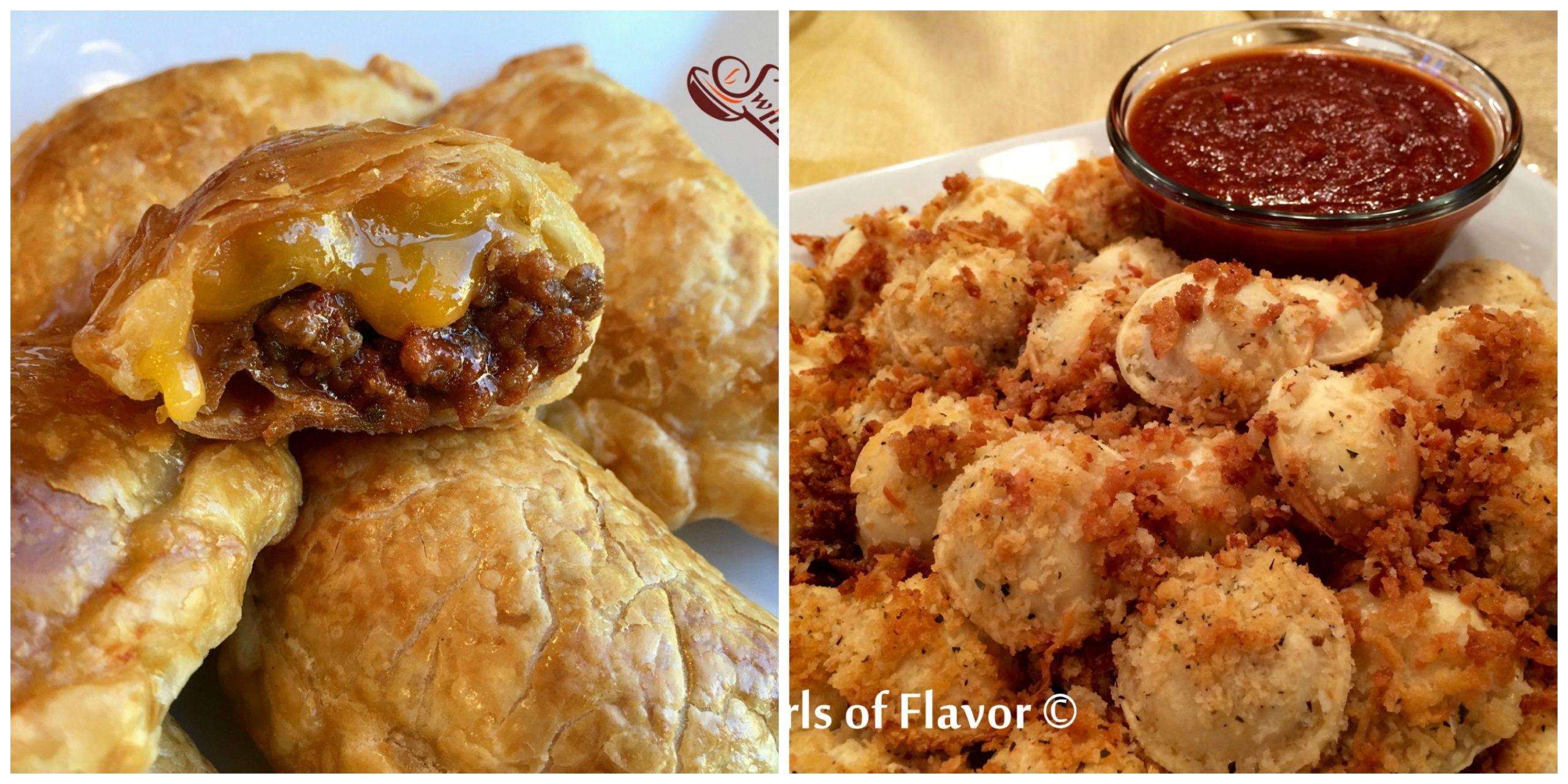 Cheeseburger Empanadas and Baked Ravioli
