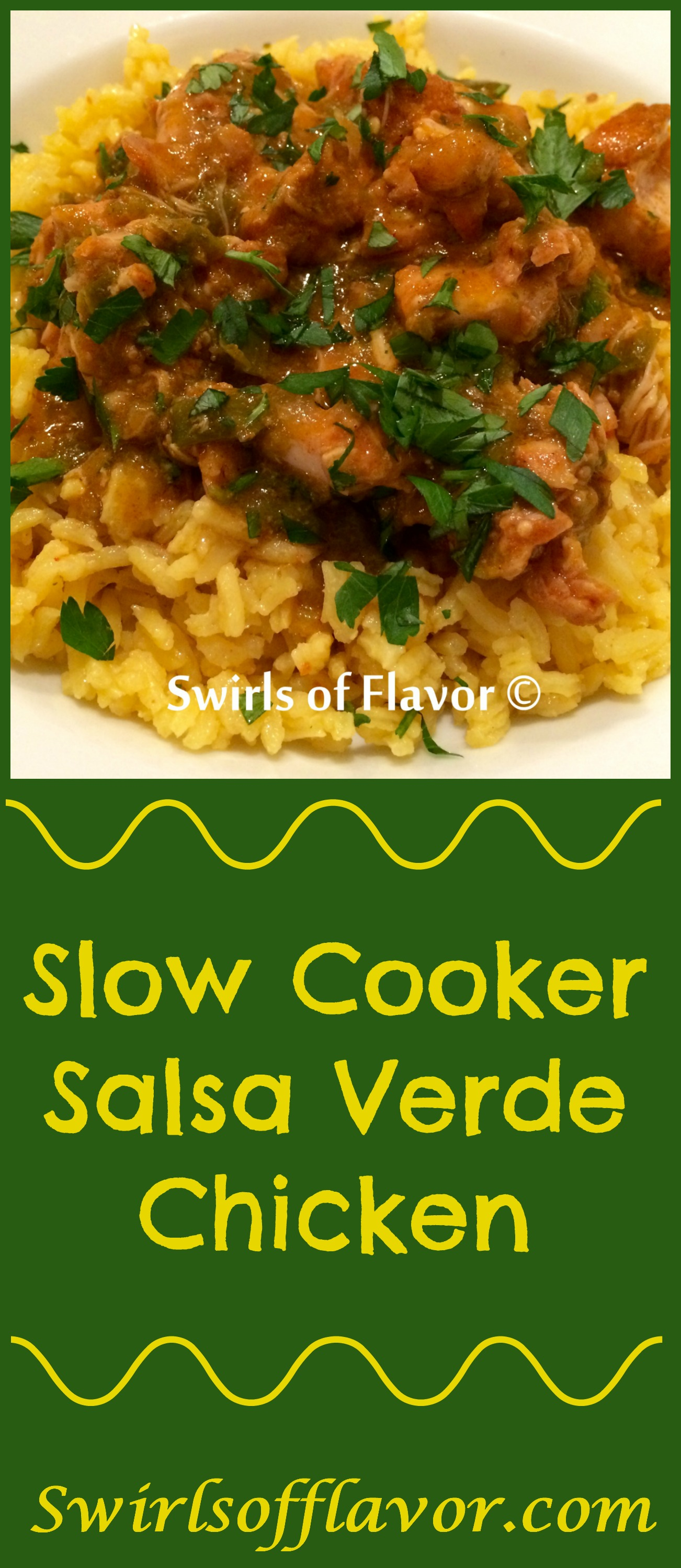 Slow Cooker Salsa Verde Chicken is as easy to make as it is delicious with just four ingredients, simmered in a slow cooker, served over rice! slow cooker | crockpot | chicken | easy | dinner | four ingredients | rice | Mexican | #swirlsofflavor