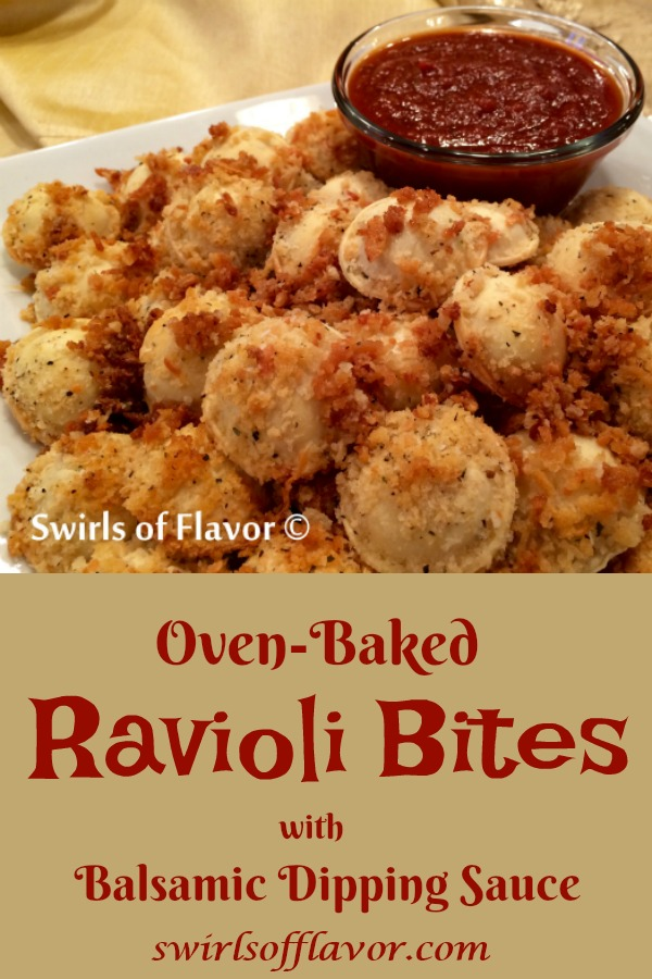 Oven-Baked Ravioli Bites With Balsamic Dipping Sauce is an easy recipe for a crowd-pleasing appetizer! Why deep fry in oil when you can bake in the oven and have your ravioli bites be so much healthier and even more delicious? Add a Balsamic Dipping Sauce and these ravioli bites will be the star of any party! #appetizer #breadedravioli #ovenbaked #pasta #easyrecipe #friedravioli #healthy #healthyappetizer #cheeseravioli #swirlsofflavor