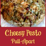 Cheesy Pesto Pull-Apart Bread is an easy appetizer recipe made with just four ingredients. The perfect blend of pesto, mozzarella and sundried tomatoes fill every nook and cranny of this baked pull apart bread! A perfect appetizer recipe for the holidays!
