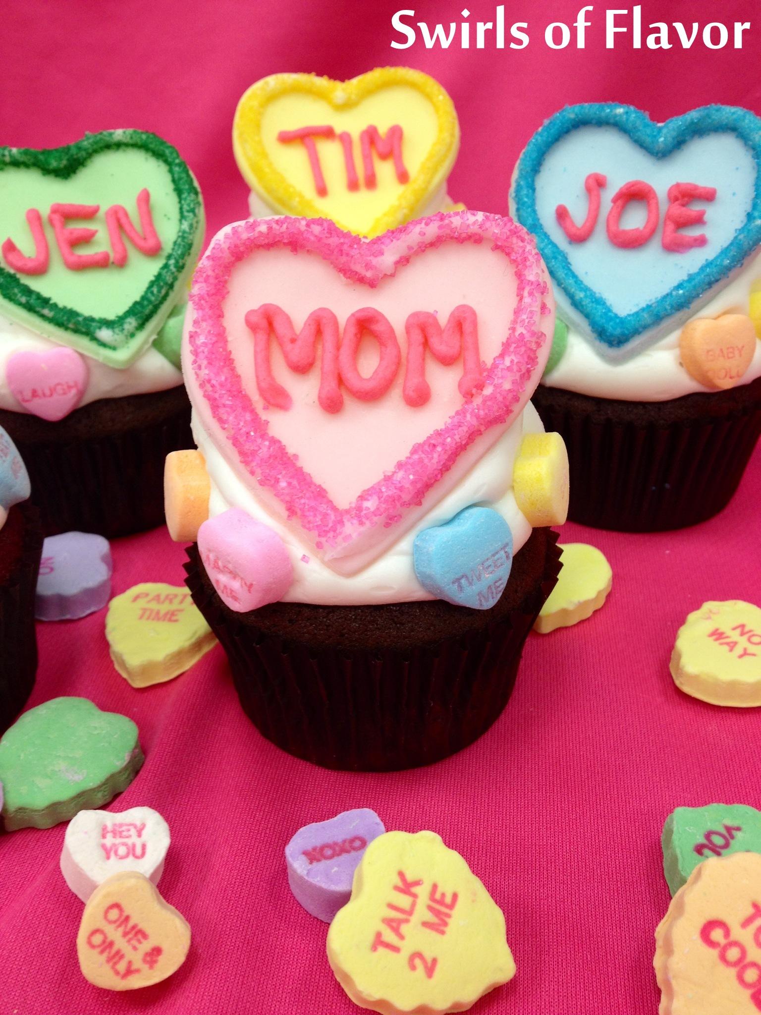 Conversation heart Cupcakes