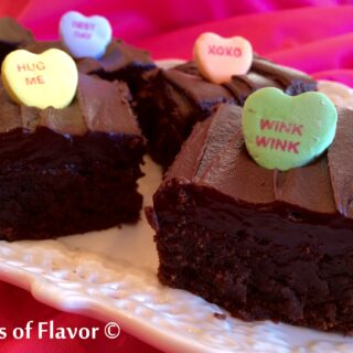 Show your love on Valentine's Day and bake Espresso Brownies With Kahlua Ganache, rich, fudgy, decadent brownies topped with a silky Kahlua chocolate! Valentine's Day | brownies | Kahlua | ganache | homemade | dessert | conversation hearts