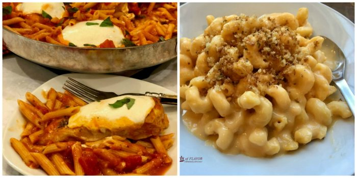 Chicken Parmesan Pasta and Mac N Cheese