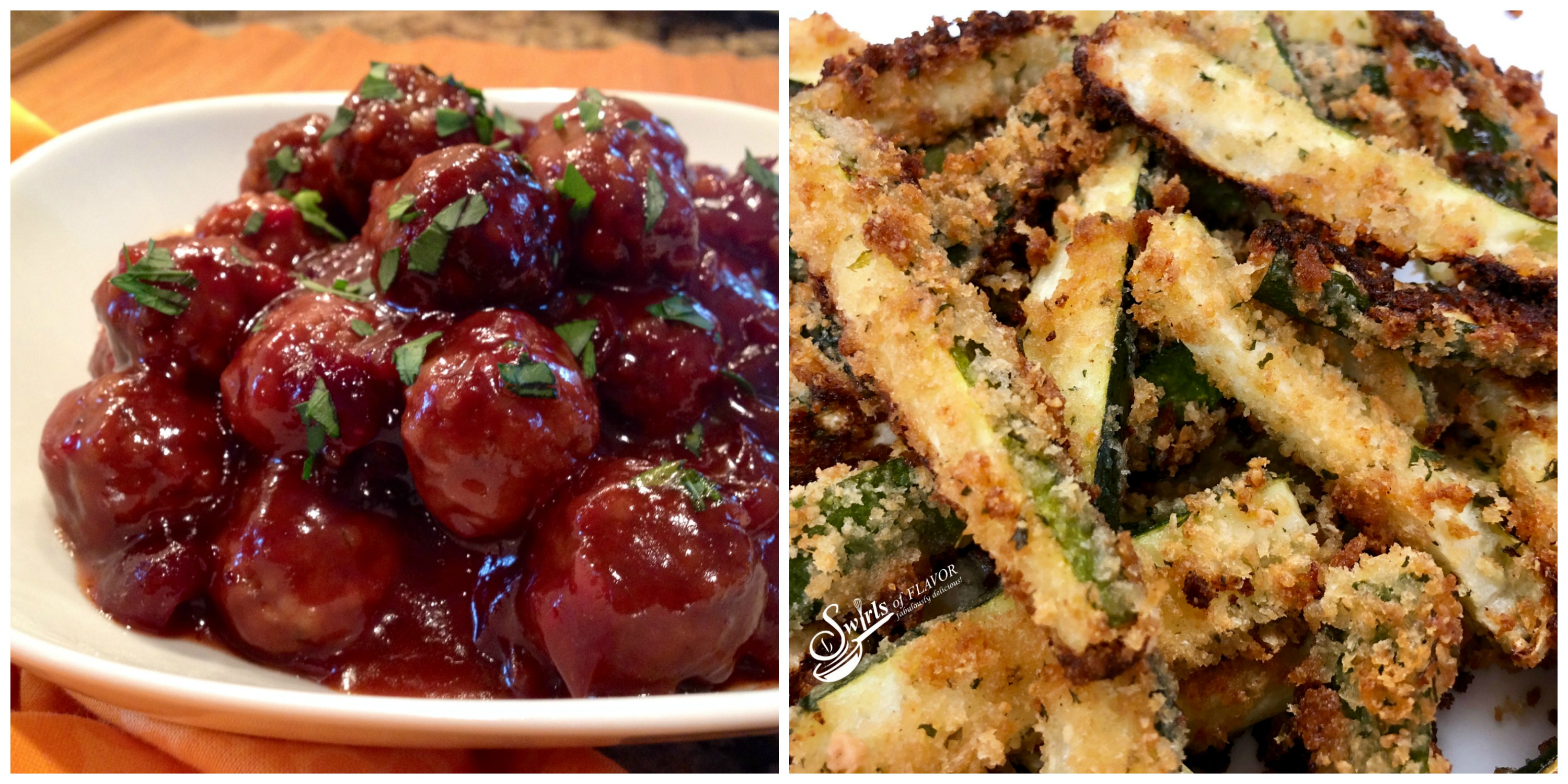Cranberry Meatballs and Zucchini Fries