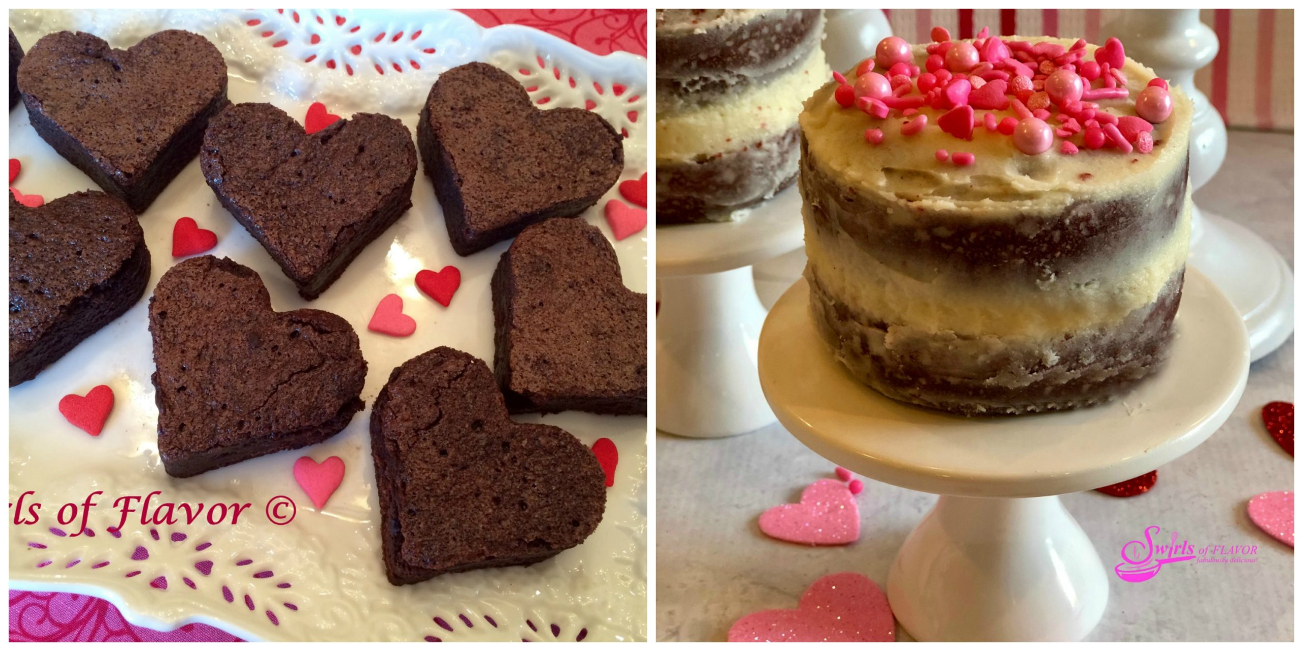 Heart Brownies and Red Velvet Mini Layer Cakes