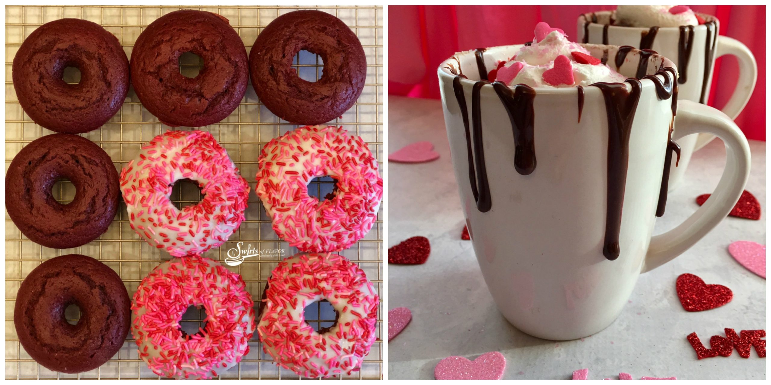 Red Velvet Donuts and Hot Chocolate Mug Cake