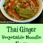 Thailand has arrived in your kitchen when you make Thai Ginger Vegetable Noodle Soup! Our vegetarian Thai noodlesoup is filled with fresh veggies, seasoned with fresh ginger, cilantro and lime, and finished with rice noodles for a Thai flavor experience! Homemade soup never tasted so good! #thai #Thainoodlesoup #vegetarian #vegetablesoup #homemadesoup #easyrecipe #meatlessmonday #Thaivegetablesoup #swirlsofflavor