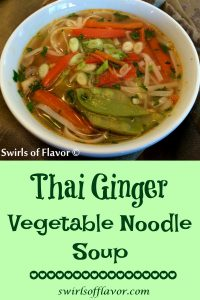 Thailand has arrived in your kitchen when you make Thai Ginger Vegetable Noodle Soup! Our vegetarian Thai noodle soup is filled with fresh veggies, seasoned with fresh ginger, cilantro and lime, and finished with rice noodles for a Thai flavor experience! Homemade soup never tasted so good! #thai #Thainoodlesoup #vegetarian #vegetablesoup #homemadesoup #easyrecipe #meatlessmonday #Thaivegetablesoup #swirlsofflavor