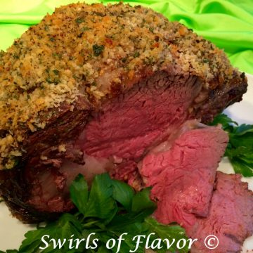 standing rib roast with slices and breadcrumb crust