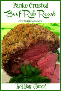 rib roast with breandcrumb crust and slices and text overlay