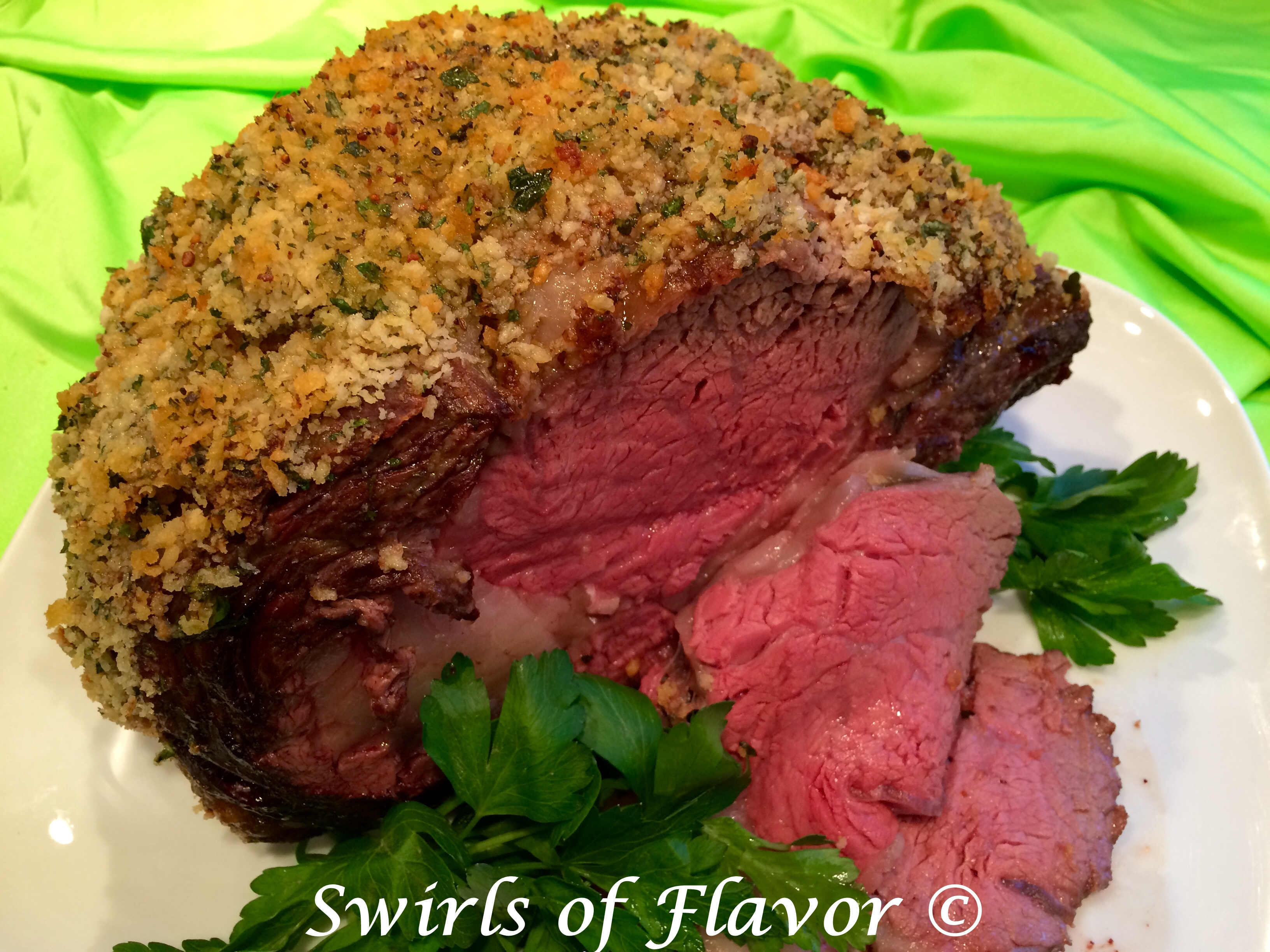 Panko Crusted Beef Rib Roast with slices and breadcrumb crust