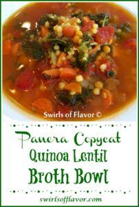 Bowl of Panera copycat recipe, Quinoa Lentil Broth Bowl