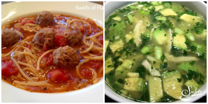 Spaghetti and Meatball Soup and Avocado Lime chicken Soup